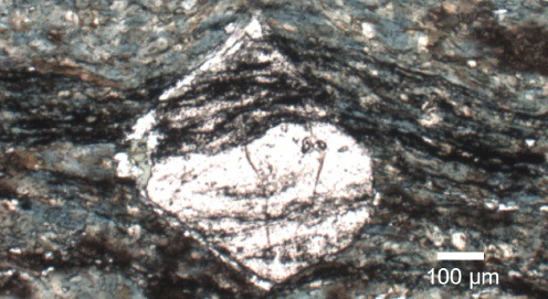Graphite encapsulated in garnet, preserving an elemental signature indicative of biogenicity. From the Isua Supracrustal Belt, Greenland. (Photo: M.T. Rosing)